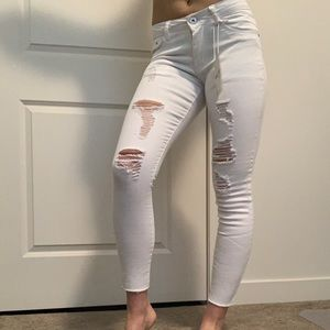 Pants - Torn white jeans